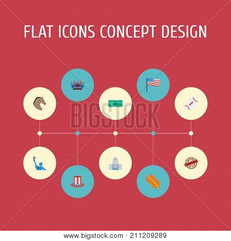 Flat Icons Greenback, Freedom Monument, Government And Other Vector Elements