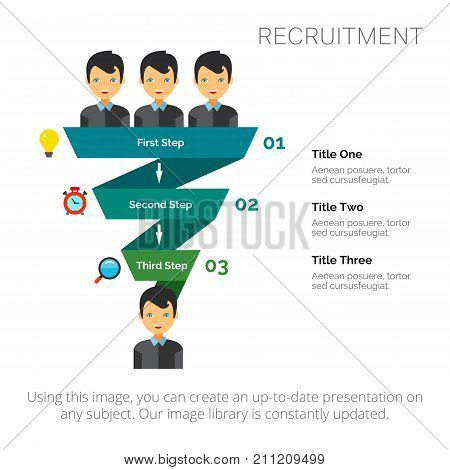 Step diagram with three elements. Process chart, funnel diagram , template. Creative concept for infographics, presentation, project. Can be used for topics like career, recruitment, employment.