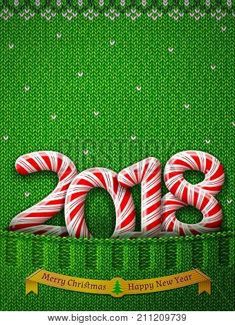 New Year 2018 in shape of candy stick in knitted pocket. Sweater fragment with year number as holiday candies. Vector image for new years day christmas sweet-stuff winter holiday
