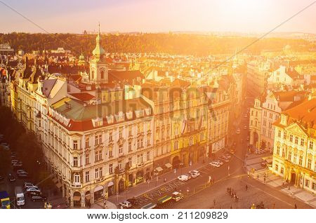 Old Town Square in eastern european Czech capital Prague - sunny view from Town Hall