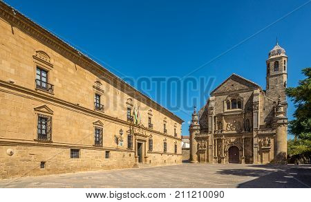UBEDA,SPAIN - OCTOBER 2,2017 - View at the chapel of Sacra Capilla del Salvador in Ubeda. Ubeda possesses 48 monuments and more of another hundred of buildings of interest almost all of them of Renaissance style.