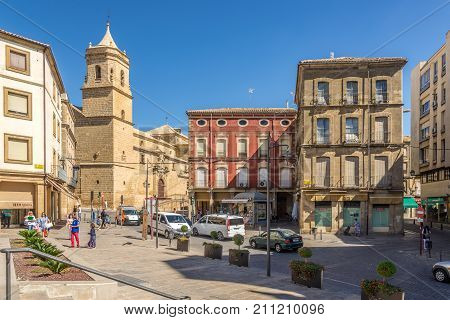 UBEDA,SPAIN - OCTOBER 2,2017 - View from place of Andalusia at the Holy Trinity church in Ubeda. Ubeda possesses 48 monuments and more of another hundred of buildings of interest almost all of them of Renaissance style.