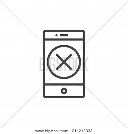 Smartphone with delete button line icon, outline vector sign, linear style pictogram isolated on white. Mobile phone with cross symbol, logo illustration. Editable stroke