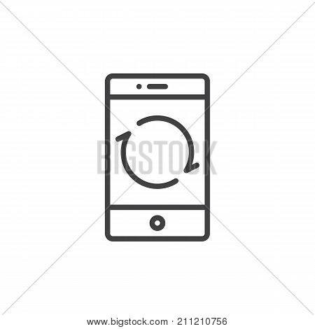 Smartphone reload button line icon, outline vector sign, linear style pictogram isolated on white. Mobile phone restarting function symbol, logo illustration. Editable stroke