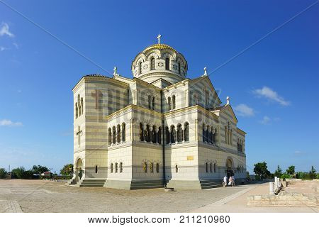 Beautiful White Stone Orthodox St. Vladimir's Cathedral In Chersonesus Tavrichesky Closeup. The Larg