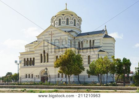 Orthodox St. Vladimir's Cathedral In Chersonesus Tavrichesky Closeup. The Largest Church On The Crim
