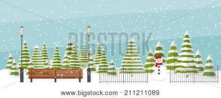 Cute vector winter background. Snowfall, fir trees in different shapes and forms, lanterns, bench, snowman. Winter park under snowfall. Winter wonderland background, snowfall.