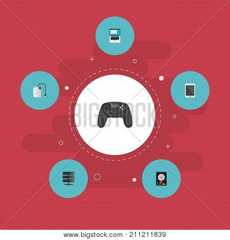 Flat Icons Palmtop, Hard Disk, Laptop And Other Vector Elements