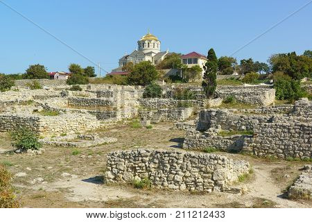 Excavation Of The Residence Of The Rich Citizen On The Background Of The Orthodox Vladimir Cathedral