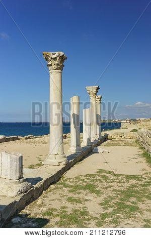 Marble Columns Of Ancient Greek Basilica Of The Vi-x Centuries On The Shores Of The Black Sea In Che