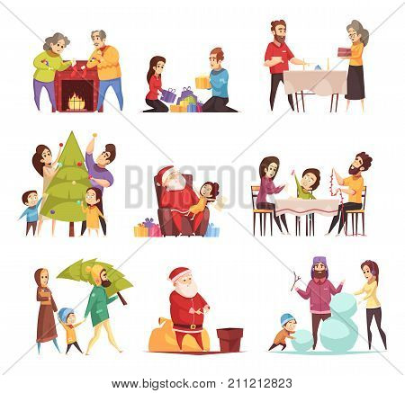 Decorating christmas tree preparing new year presents with santa building snowman cartoon icons set isolated vector illustration