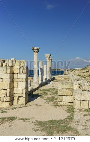 Ruins Of Ancient Greek Basilica Of The Vi-x Centuries On The Shores Of The Black Sea In Chersonesus