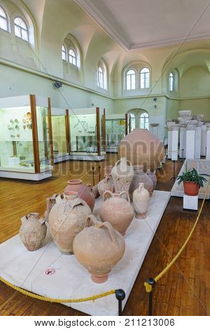 Greek Amphora In The Museum Hall Of The Byzantine Exhibition In Chersonesus Tavrichesky With The Exc