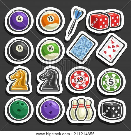 Vector set of Gaming and Gambling Equipment, collection of billiards balls, darts arrow, cubes for craps, playing card, chess knight, chips for casino, bowling ball & pins isolated on black background