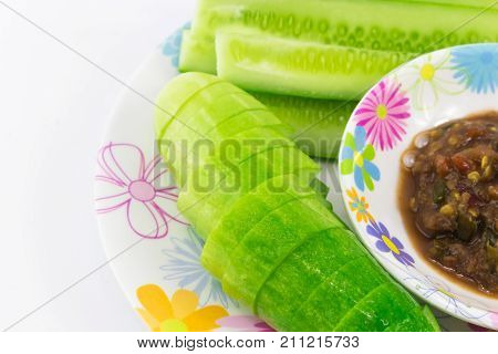 Shrimp Paste Sauce With Solanum Torvum And Cucumber In Small Dish