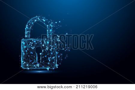 Cyber security concept. Lock symbol from lines and triangles point connecting network on blue background. Illustration vector