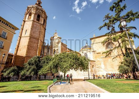 View on the cathedral of the assumption of Our Lady of Valencia in the old town of Valencia city, Spain
