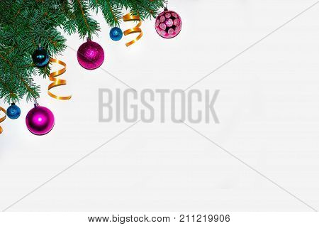 Christmas Background. .christmas Frame Made Of Fir Branches. New Year's Toys. Christmas Wallpapers.