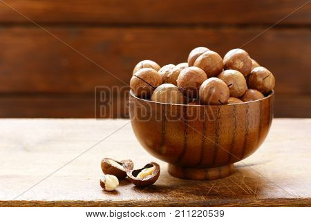 natural macadamia nuts in shell on a table