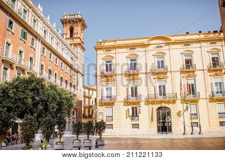 View on the Manises square with Bartolomeu tower in Valencia city in Spain