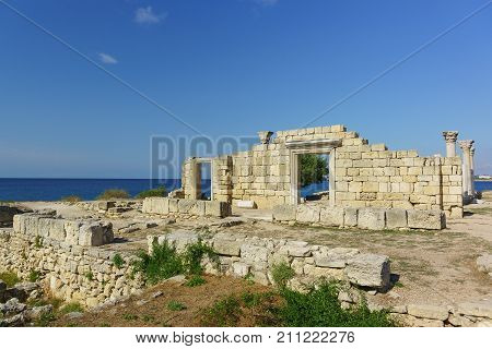 Ruins Of The Ancient Greek Basilica Of The Vi-x Centuries In Chersonesus Tavrichesky