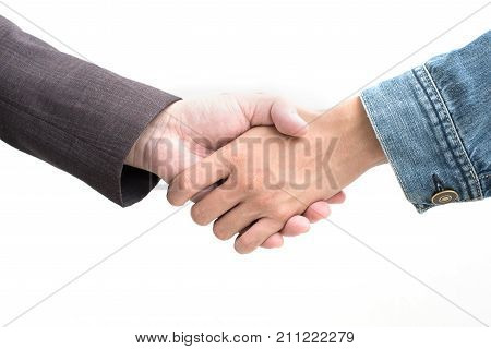 Hands Shake Of Businessmen  On Isolated White Background.  Business And Success Concept, Front View