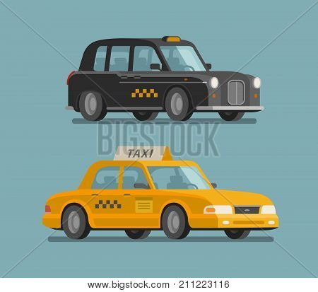 Taxi, cab concept. Car, vehicle, transport, delivery icon or symbol Cartoon vector illustration