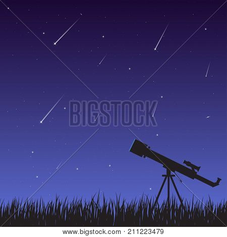 A telescope on the grass against a background of a night sky with a starfall. Astronomical observations of the universe galaxy and celestial bodies.