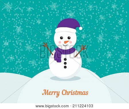 Snowman vector cartoon character with winter background