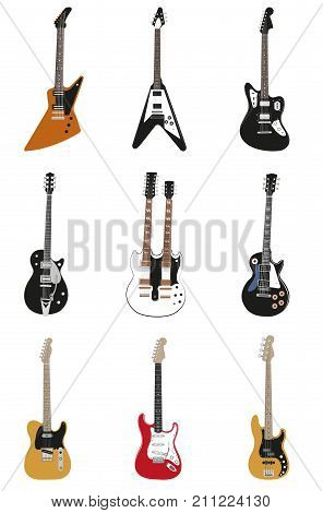 vector collection of isolated on white backgroung guitars