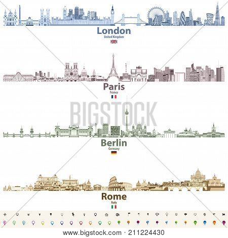 abstract vector set of London, Paris, Berlin and Rome city skylines in bright color palett