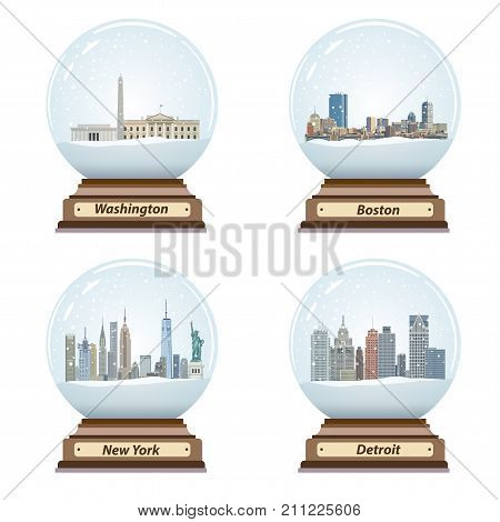 vector set of snow globes with United States city skylines inside