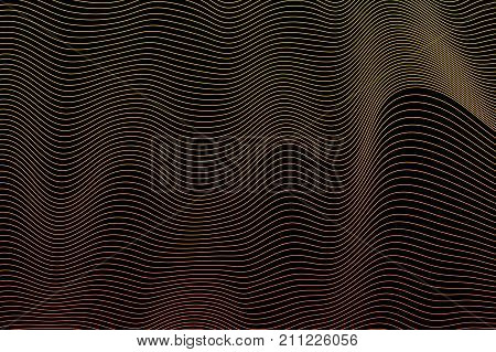 Abstract black background with illusion yellow line shapes