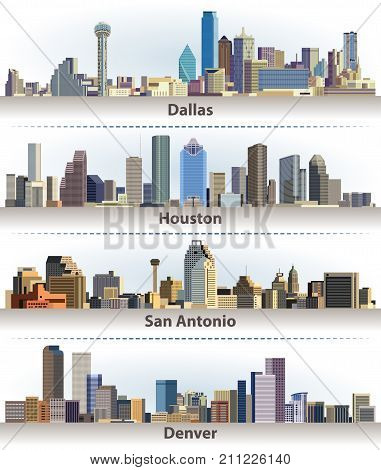 vector collection of United States city skylines: Dallas, Houston, San Antonio and Denver