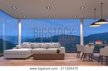 Night scene glass house living and dining room with mountain view 3d rendering image.The room has wooden floor. There are large frame less glass window overlooking to the mountain and nature