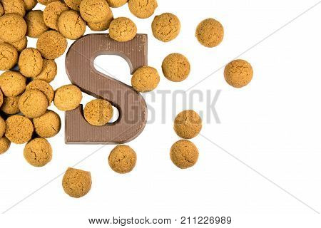 Handful Of Thrown Pepernoten Cookies With Chocolate Letter