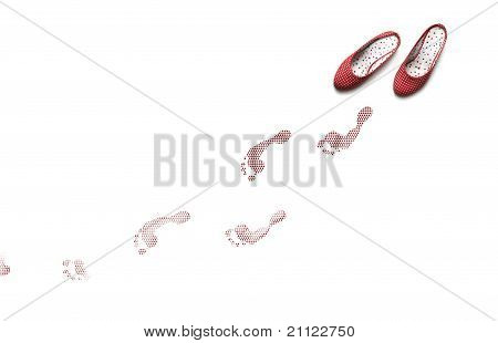 Stylish Flat Shoes And Foot Prints.