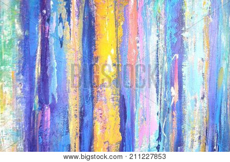 Color vertical stripes. Backdrop with acrylic lines ornament. Grunge template. Lines background. Composition for scrapbook elements. Painting. Grunge line design. Artwork with color strip background.