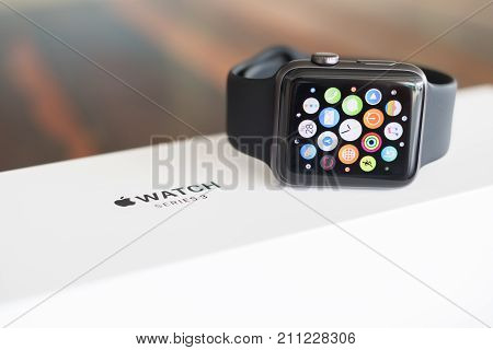 Chiang Mai , Thailand - October 28 2017, Smart Watch ,  Apple Watch Series 3 (gps).space Gray Alumin