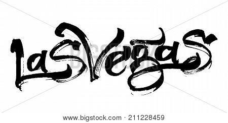 Las Vegas. Modern Calligraphy Hand Lettering for Silk Screen Printing
