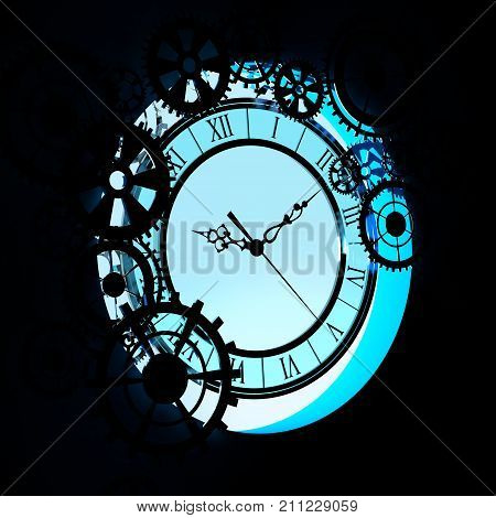 Old Clock With Gears Background