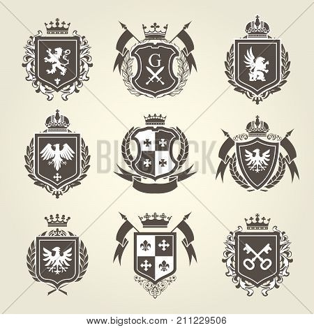 Royal blazons and coat of arms - knight heraldic emblems set