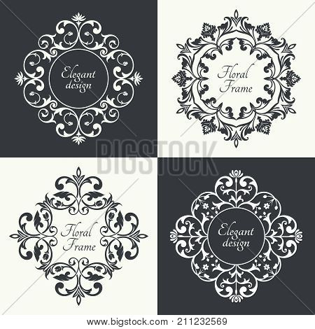 Circular baroque patterns. Round floral arabic ornaments. Vintage frame. Greeting card. Wedding invitation. Retro style. Monogram decorative frames. Vector logo template labels and badges