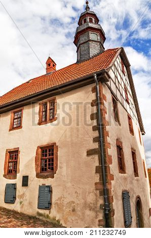 Townhall (Stone construction of the 16th century with late Gothic forms) in medieval small town Schlitz Vogelsbergkreis, Hesse, Germany