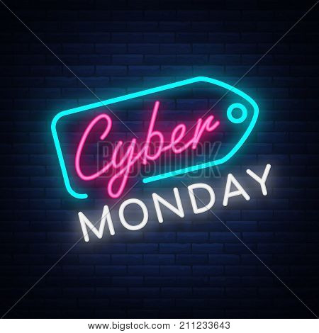 Cyber Monday concept banner in fashionable neon style, luminous signboard, nightly advertising advertisement of sales rebates of cyber Monday. Vector illustration for your projects.