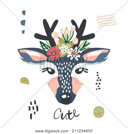 Cute cartoon dear girl with flowers on head. Childish print for nursery kids apparelposter postcard. Vector Illustration