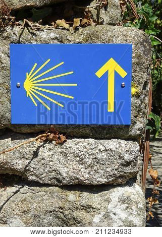 Waymark along the Way of St. James, Portugal, Europe