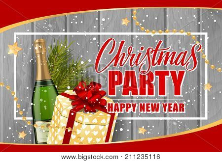 Christmas Party Happy New Year lettering in frame. Christmas invitation with champagne bottle and gift box. Handwritten and typed text, calligraphy. For greeting cards, posters, leaflets and brochures.