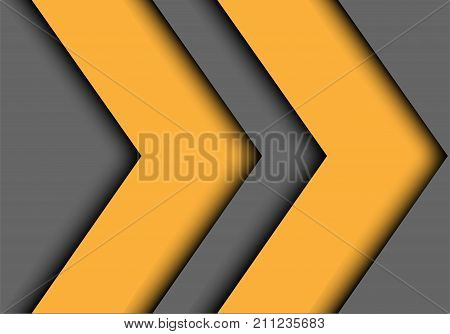 Abstract double yellow arrow on gray design modern background vector illustration.