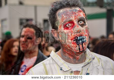Montreal Canada - October 28 2017: Undead taking part in the Zombie Walk in Montreal Downtown
